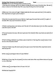 whole numbers by unit fractions word problems 2 worksheets