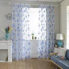 100x200cm flowers print tulle window curtain balcony bedroom bay