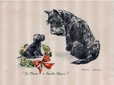 do i hear sleigh bells scottish terriers vintage card