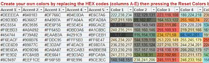 colour themes for excel excel dashboard color scheme selector bacon bits