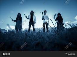 halloween nature background group of stranger people with weapon to prank on halloween scary