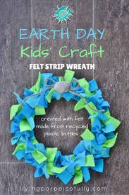 earth day kids u0027 craft felt strip wreath recycled plastic
