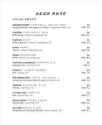 sample beer menus