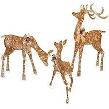 set of 3 white gold deer family reindeer display