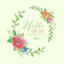 wedding flowers quote hello floral frame clipart handpainted watercolor wedding