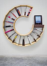 interesting creative bookshelf design with three standing wall