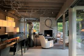 living space fireplace dining table urban cabin in medina
