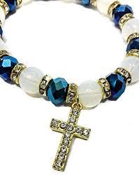 beads with cross bracelet images Stretchable golden bracelet deep blue crystal beads zircons jpg