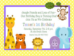 Sample Of 1st Birthday Invitation Card Jungle Animals Themed 1st Birthday Invitation Design Idea With