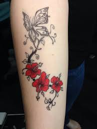 hibiscus drawing tattoos flower butterfly sharpie