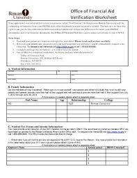 verification worksheet for dependent students 28 templates
