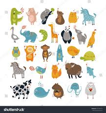 vector animals cute characters design prints stock vector