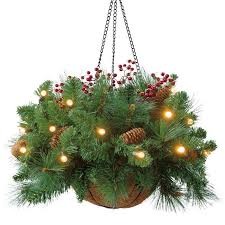 christmas hanging baskets with lights a hanging basket with pine tree branches or any christmas tree