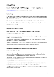 experience in resume example cv email marketing crm