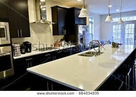 modern home kitchen interior beautiful island stock photo