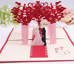 10pcs 3d red trees forest couple handmade kirigami origami wedding