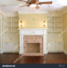 great room fireplace sconce lights stock photo 8576614 shutterstock