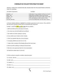 correlative conjunction worksheet free worksheets library
