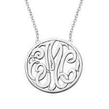 Personalized Script Necklace Monogram Personalized Disc Three Initial Necklace In Sterling Silver