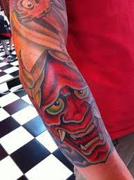 hannya mask tattoo by damien wickham tattoonow