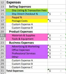 Etsy Spreadsheet The Etsy Seller Spreadsheet A Bookkeeping Template With