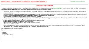 agricultural agent work experience certificate