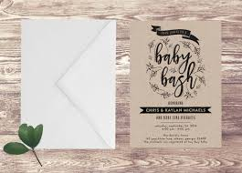 printed baby bash invitation on kraft paper baby shower