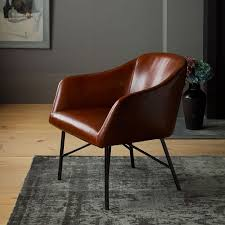 leather bucket chair west elm