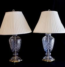 pair of ethan allen cut crystal table lamps ebth
