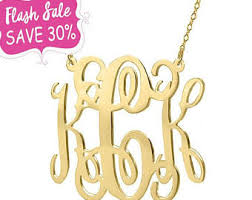gold monogram initial necklace monogram necklace etsy