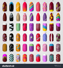 set colored painted nails manicure nail stock vector 306971879