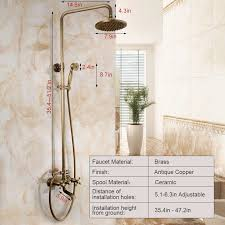 Shower Faucet Height Installation Copper Top And Hand Bathroom Shower Faucet System