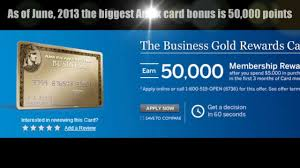Business Gold Rewards Card From American Express Current Biggest American Express Credit Card Bonus June 2013 Youtube