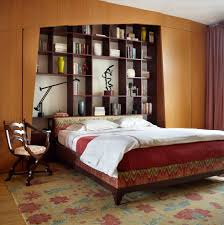 pretty bookcase headboard in bedroom contemporary with low profile