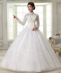 high neck wedding dresses gown high neck sleeves lace wedding dress tbdress