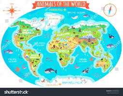 Northern Africa Map by Animals World Vector Flat Style Animals Stock Vector 493548466