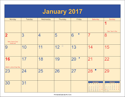 january 2017 calendar with holidays weekly calendar template