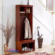 entryway wooden hall tree shoe storage bench coat rack metal hooks