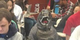 godzilla costume professor s kid goes viral after wearing godzilla costume to class