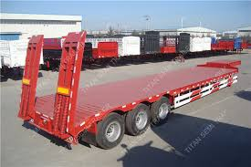 Utility Bed Trailer Tri Axle Heavy Duty Utility Low Bed Trailer 60 Tons With Ramps