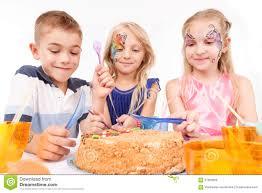 Kids Eating Table Joyful Children Eating Birthday Cake Stock Photo Image 57063295