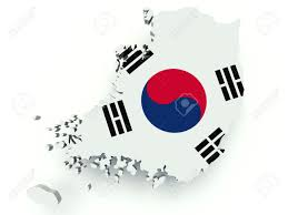 Flag Of South Korea Map Of South Korea Republic Of Korea With Flag Colors 3d Render