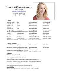 Audition Resume Template Theatrical Resume Sample Actors Resume Template Child Actor