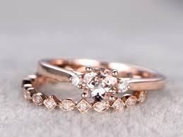 morganite engagement ring gold wedding ring set morganite engagement ring 6 5mm cut