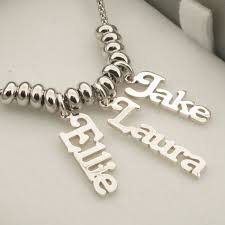 chain with name name pendants on rhodium plated chain with rhodium plated