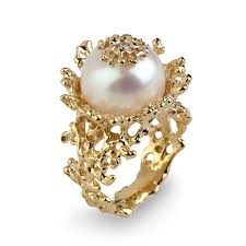 K Hendesign Gold Perlen Diamant Verlobungsring Korallen Blume Perle