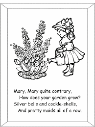 mary mary contrary nursery rhyme coloring pages flowers