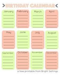 Free Birthday Calendar Template Excel Excel Template For Birthday Calendar In Color Landscape