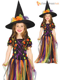 girls halloween witch costume deluxe fancy dress childrens