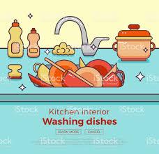 dessin evier cuisine évier de cuisine avec ustensiles de cuisine vaisselle ustensiles